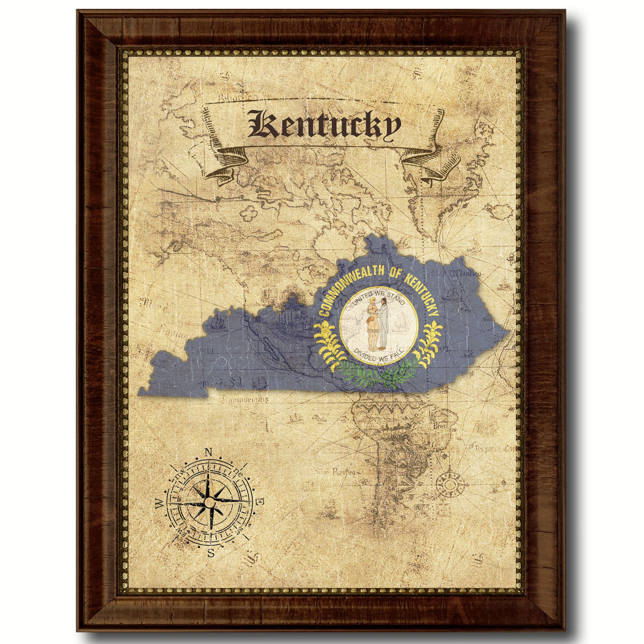 Kentucky State Vintage Map Home Decor Wall Art Office Decoration ...