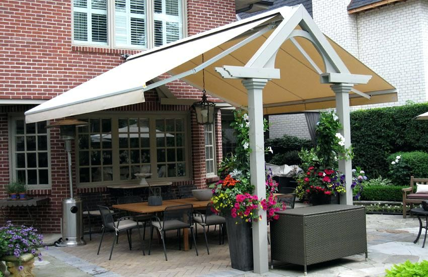 free standing retractable awning installation to free