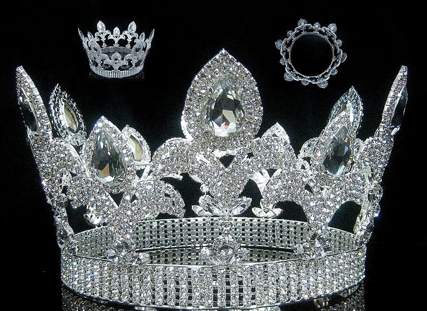 """Majestic 6.5/"""" Tiaras Clear Austrian Rhinestone Crowns Pageant Bridal Prom Party"""
