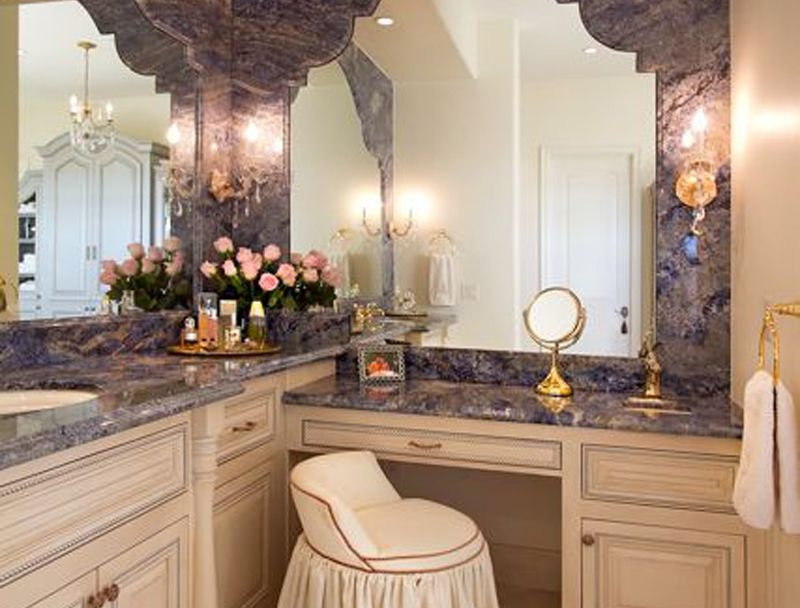 "Custom Design Bathrooms Adorable Scottsdale Estate  Master Bathroom ""her"" Vanity With Custom Design Ideas"