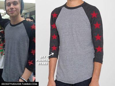 6952449c246 Luke Hemmings  Athletic Grey Tri-Black Star Printed Sleeves Raglan Tee  Exact  DIY custom made design for him using an AA Tri-Blend 3 4 Sleeve  Raglan Tee and ...