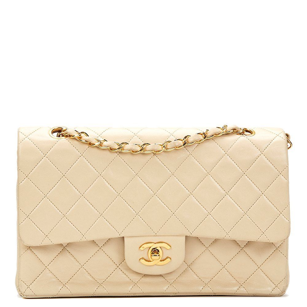 344e1e57 Ivory Quilted Lambskin Vintage Medium Classic Double Flap Bag in ...