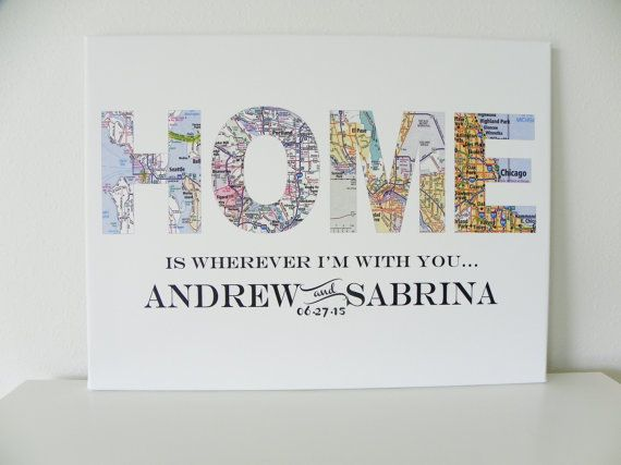 Home Is Wherever IM With You Custom Wedding Gift Map Art Map