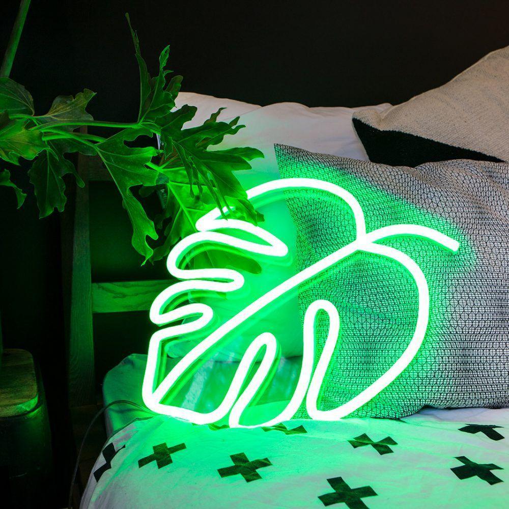 Vaporwave Room green neon sign plant leaf monstera