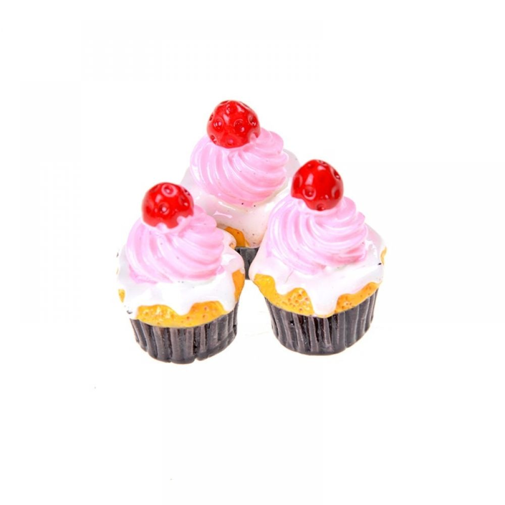 3Pcs Miniature Food Models Strawberry Cakes Dollhouse Accessories #dollhouseaccessories