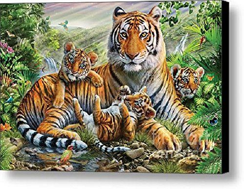 Royal Plush Raschel Throw Blanket Tiger and Cubs 50 in X 60 in