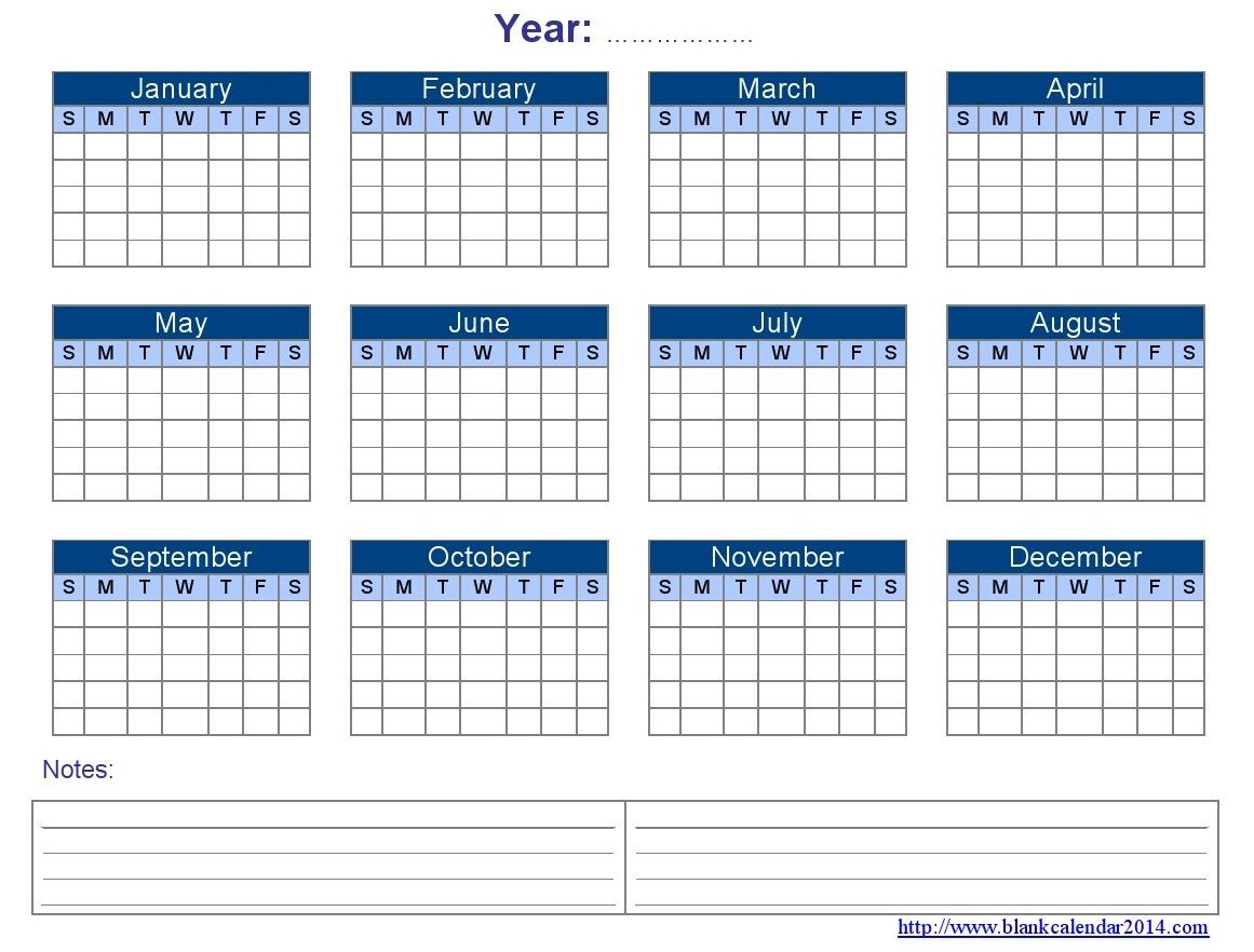 Calendar Printable  Yearly Blank Calendar Templates  Free
