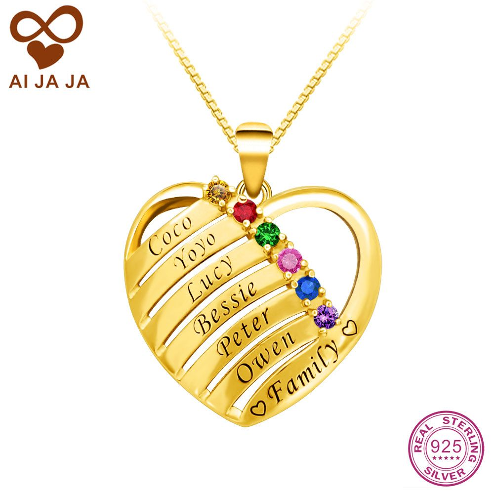 Aijaja 925 sterling silver heart shape necklaces pendants aijaja 925 sterling silver heart shape necklaces pendants personalized family birthstones names engraved necklaces mozeypictures Choice Image