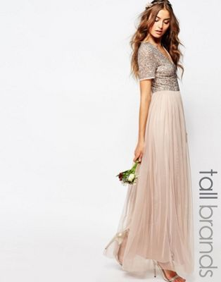 0a2f5c1f2711 Maya Tall V Neck Maxi Tulle Dress With Tonal Delicate Sequins ...