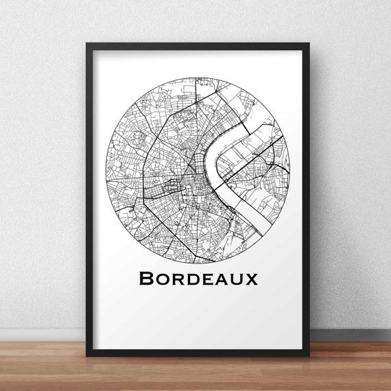 affiche carte bordeaux minimalist map city map poster de ville d coration murale plan de. Black Bedroom Furniture Sets. Home Design Ideas