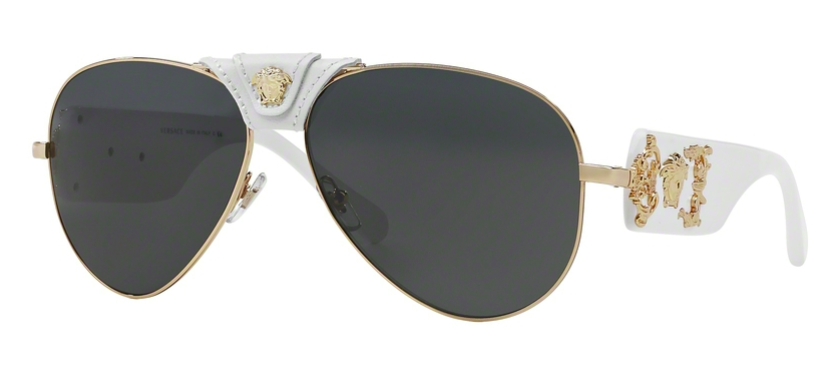 d68d55e353d8 FREE 2 DAY SHIPPING - VERSACE MOD 1250Q 134187 GOLD AVIATOR WITH WHITE  LEATHER Brand New Sunglasses with Original Packaging and VERSACE  Authenticity ...