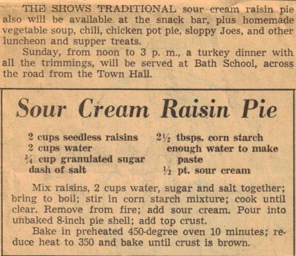 Sour Cream Raisin Pie Recipe Clipping Recipecurio Com Sour Cream Raisin Pie Raisin Pie Raisin Pie Recipe