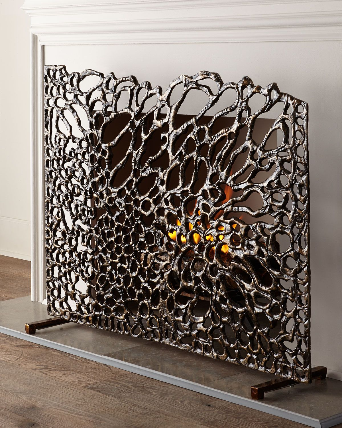 Modern Fireplace Screens Living Room Contemporary With: Organic Bronze Fireplace Screen In 2019