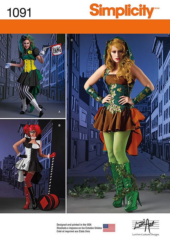 Simplicity Sewing Pattern 1091 Misses\' Super Villainess Costumes ...
