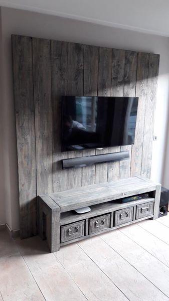Magnifiek TV meubel / Wandmeubel van steigerhout | Jó ötletek - Tv furniture #BB33
