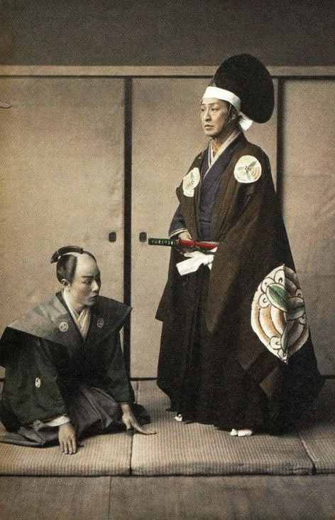 SAMURAI / SHINTO LEADER AND RETAINER...........1870...1880................SOURCE ZERKALOMIROIR.TUMBLR.COM..........