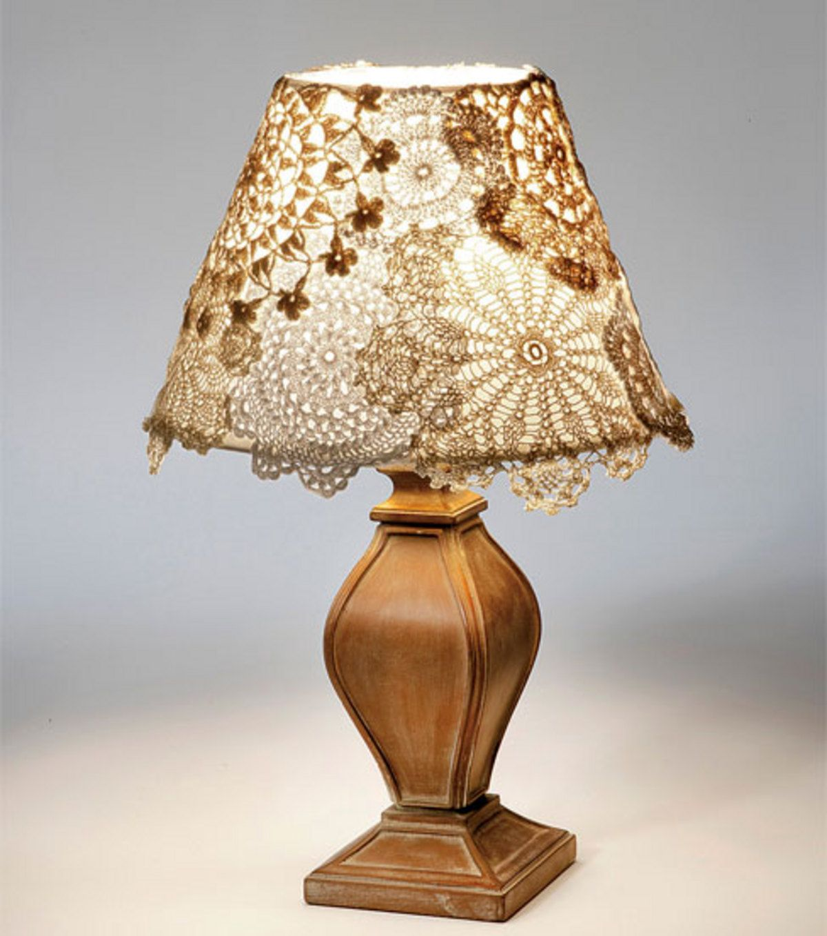 Add lace doilies to a self adhesive lampside and you have unique doily lamp from joann arubaitofo Images
