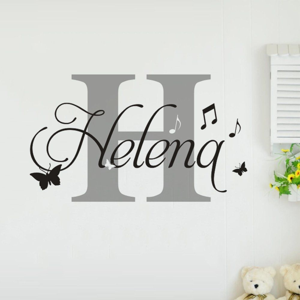 Yex personalized name wall stickers decal music note butterfly baby yex personalized name wall stickers decal music note butterfly baby room nursery removable home decor vinyl art mural 18 save this wonderfull item diy solutioingenieria Gallery