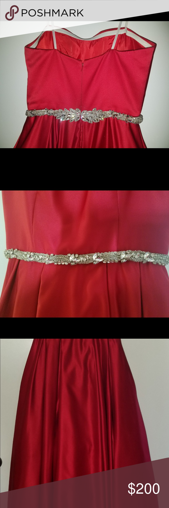 a6205847082 Prom or red carpet dress with Swarovski sash Betsy Adam red dress size 8  with handmade Swarovski sash belt. Worn one time only. Excellent condition.