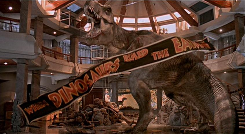one of the final scenes in Jurassic park