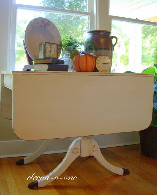 Duncan Storage Coffee Table: Duncan Phyfe Drop Leaf Table Painted White