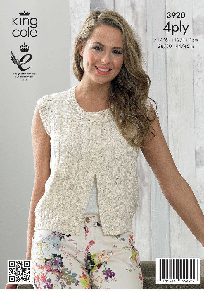 430f4cb63 Ladies  Cardigan and Waistcoat in King Cole Bamboo Cotton 4 Ply ...