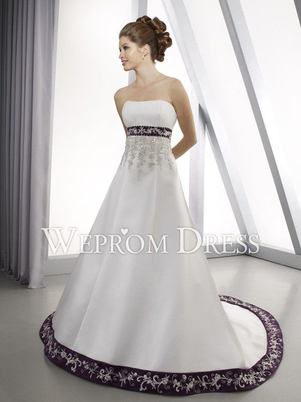 Plus size hourglass rectangle beading embroidery pleated for Wedding dress with purple embroidery