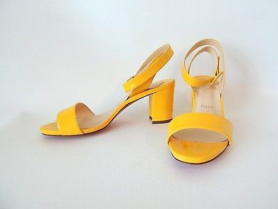Yellow Patent Louboutin Sandals 38 Leather Jordi Chunky Heels Platform Strappy