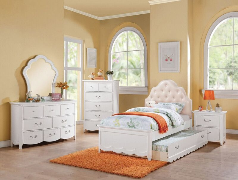Acme 30305F 4 pc Cecilie white finish wood tufted headboard full bedroom set is part of White bedroom Set - 4 pc Cecilie white finish wood tufted headboard full bedroom set  This set includes the Full bed set, one nightstand, Dresser, and Mirror  Full bed with tufted headboard measures 81  x 61  x 52  H  Nightstand measures 26  x 17  x 26  H  Dresser measures 56  x 18  x 34  H  Mirror measures 34  x 38  x 2  H  Some assembly may be required  Twin bed and trundle also available separately at additional cost