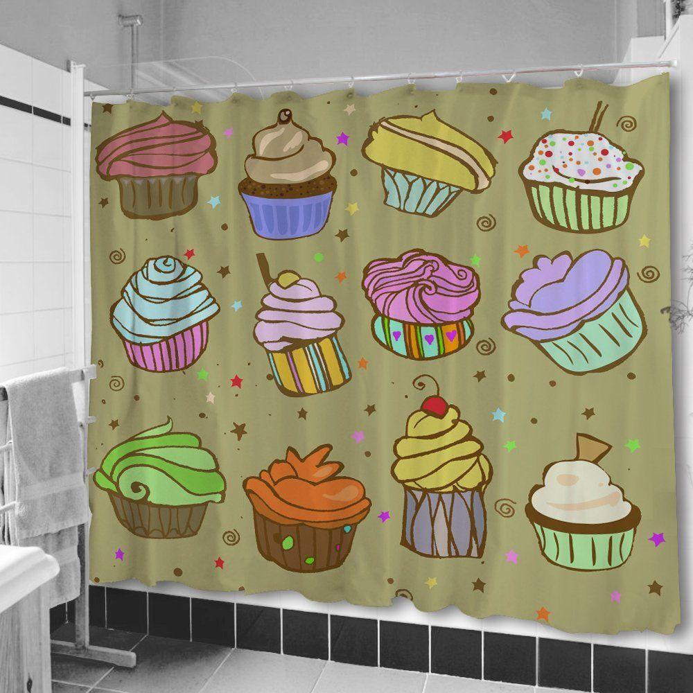 Amazon.com   Uneekee Color Cupcakes Shower Curtain