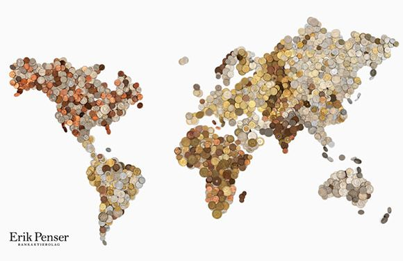 World Map Made of 3000 Coins. Each country is made up of its own coins!