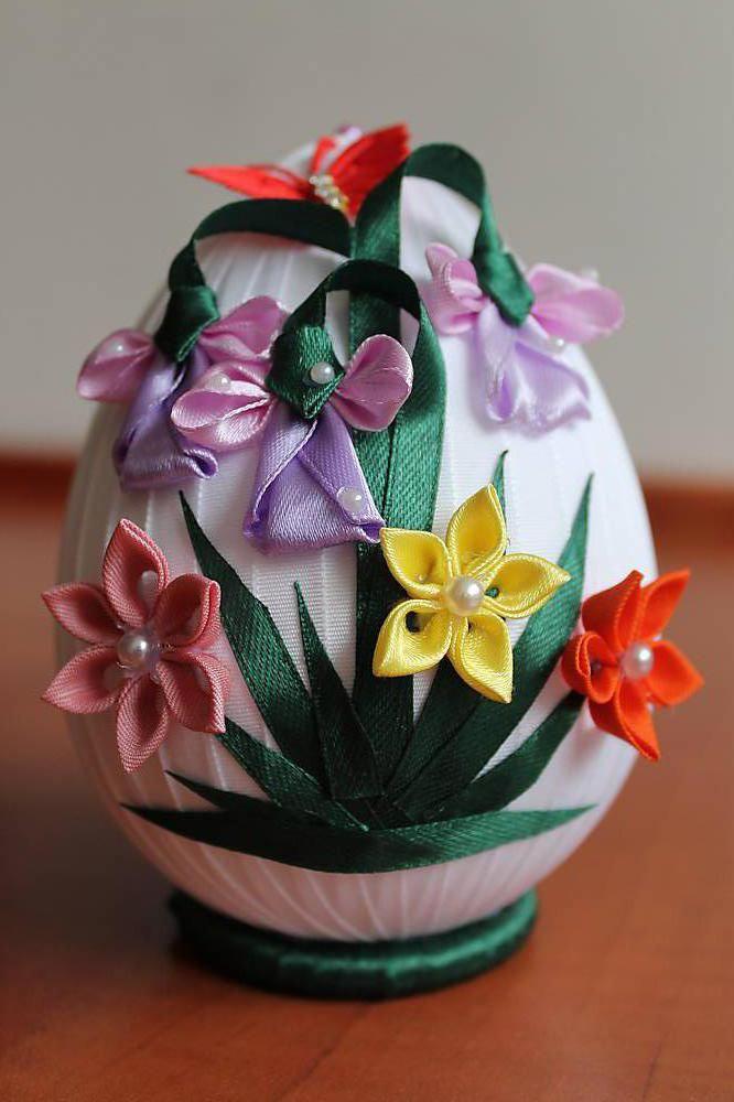 Dekorácie - Veľkonočné vajíčko s kvietkami - 5331034_