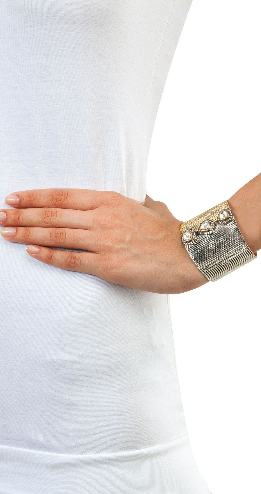 Gold and silver polish open cuff by ROHITA AND DEEPA. Shop at http://www.perniaspopupshop.com/whats-new/rohita-and-deepa-6686