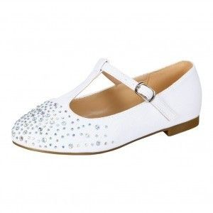 Girls White Sparkle Studded Accents T-Strap Dress Shoes 11-3 Kids ... c6f3b74390ef