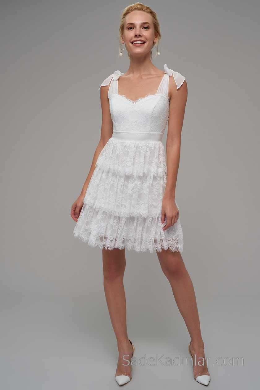 016ad4fa27245 2018 Beyaz Elbise Modelleri Bağlamalı Askılı Katmanlı Dantel Etek Resmi  Elbiseler, Gelinlikler, Çiçekli Kız