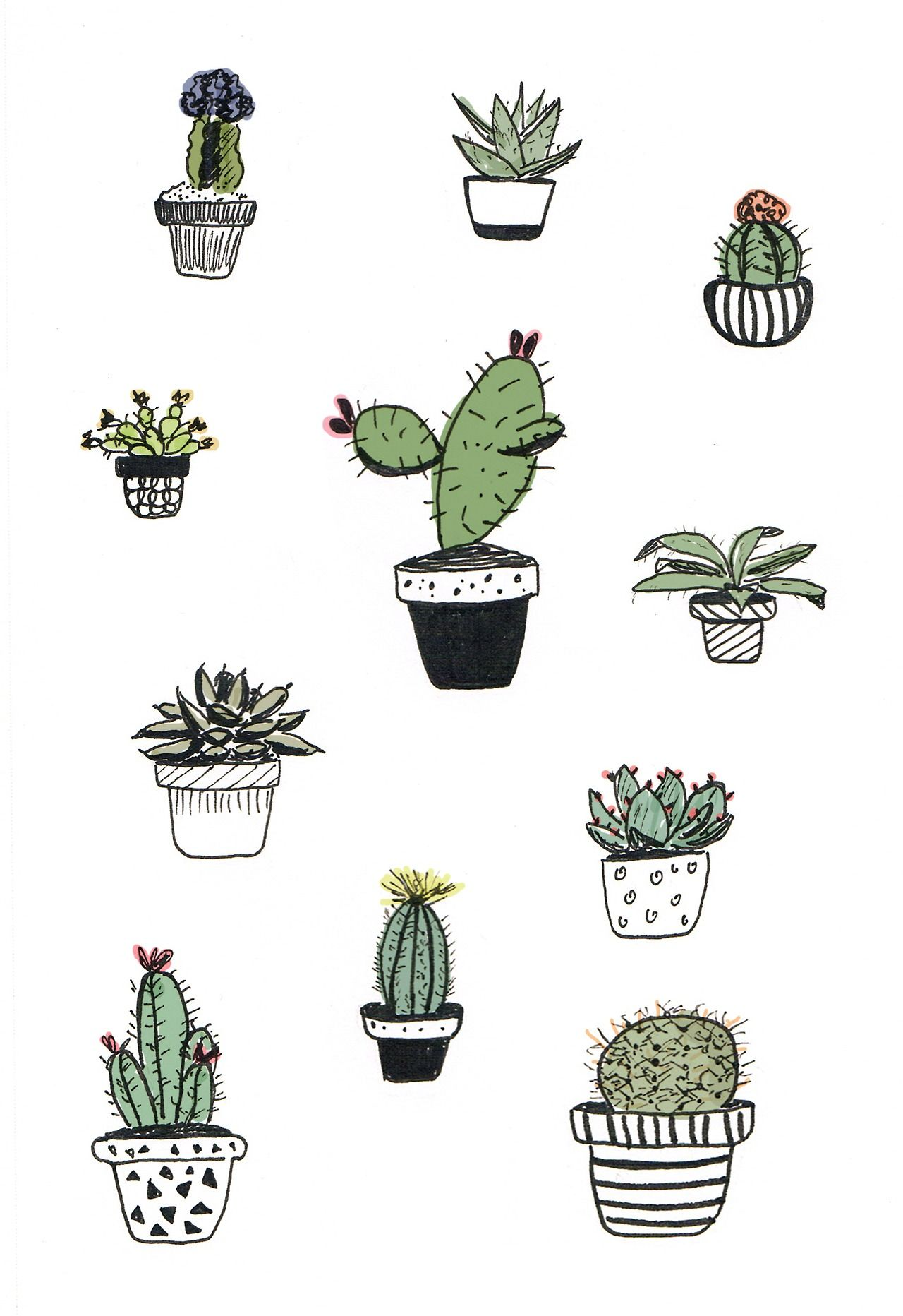 Cacti doodle - Alana Keenan ***Paint these on that paint pallet you ...