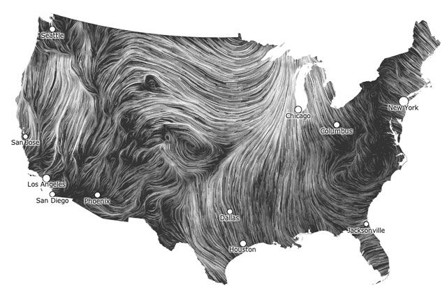 Wind Map Beautiful Visualization Of Wind Flowing Around The Us Wind Map Detailed Map Wind
