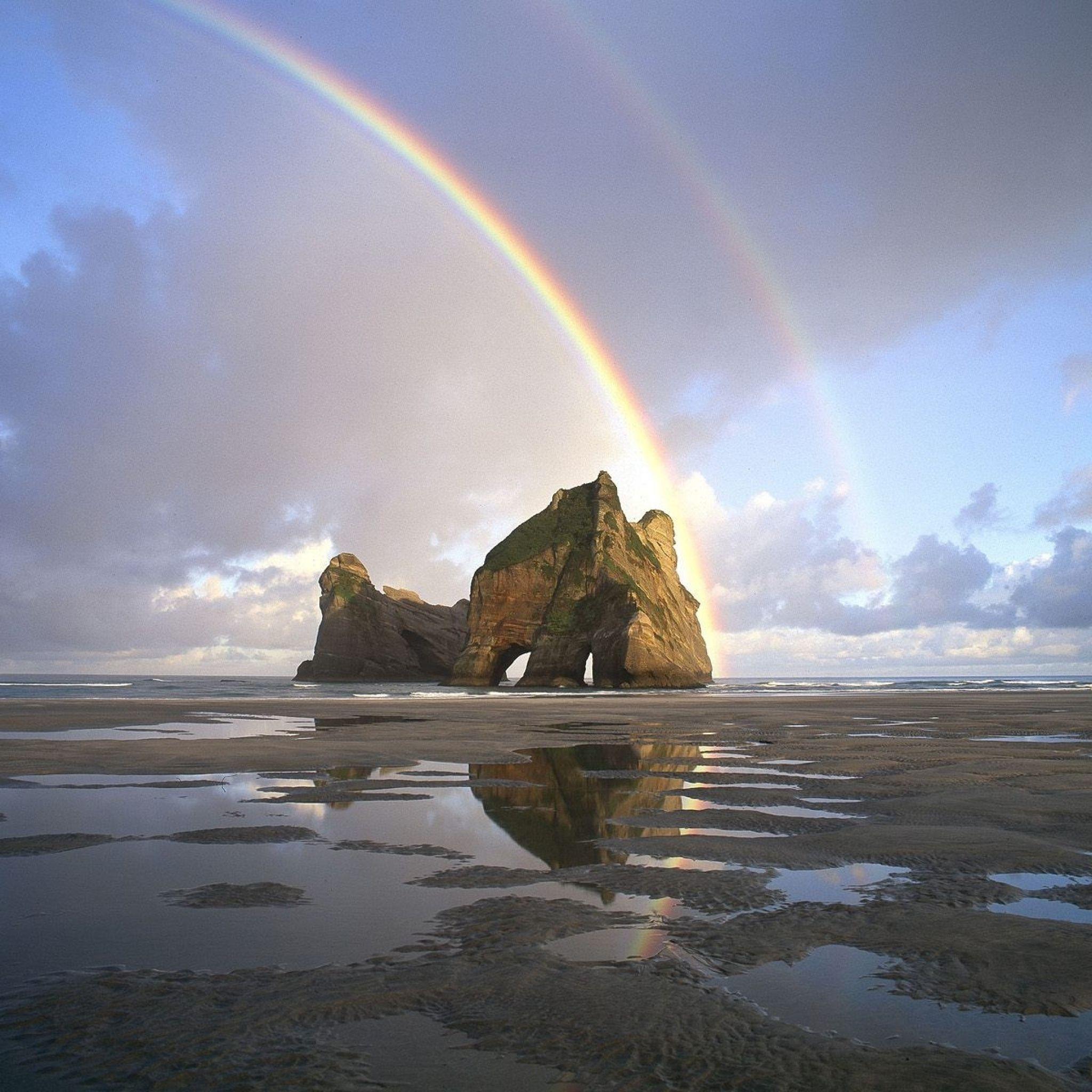 2048x2048 Wallpaper areia, arco-íris, rochas, piscinas, água, nova zelândia