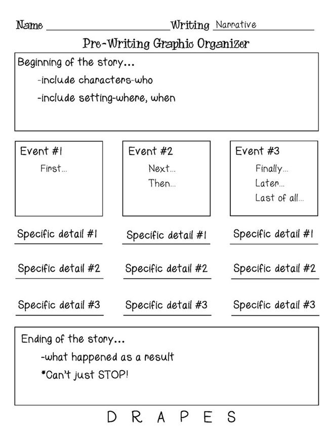 graphic organizer for writing a narrative Download a personal narrative graphic organizer use it to plan and prepare your narrative story the graphic organizers are in pdf format you will need an adobe reader to view and print them.