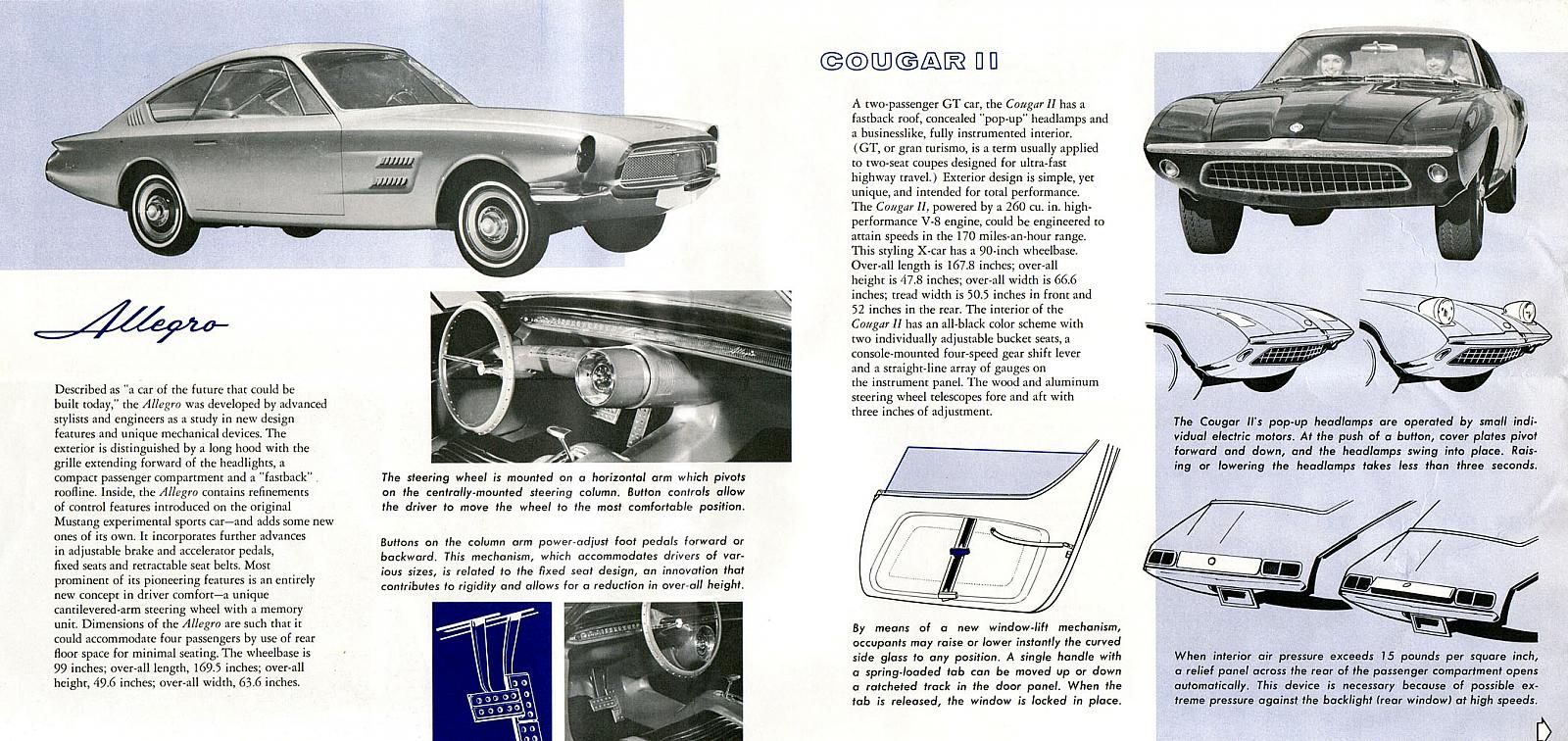1963 ford experimental cars brochure featuring allegro mustang ii and cougar ii