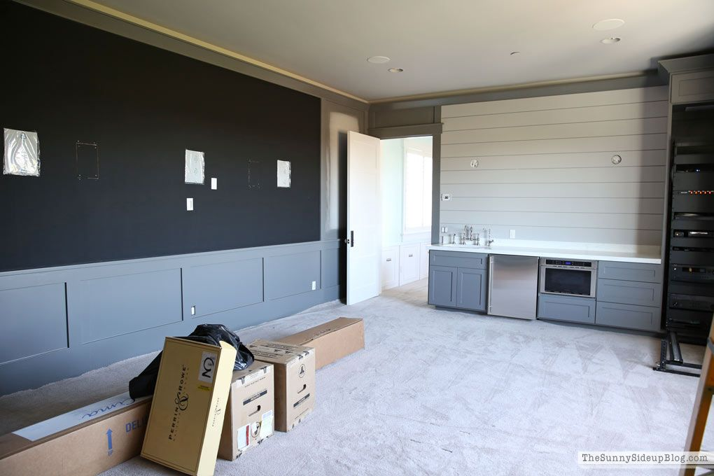 Theatre Room Grey Cabinets Shiplap
