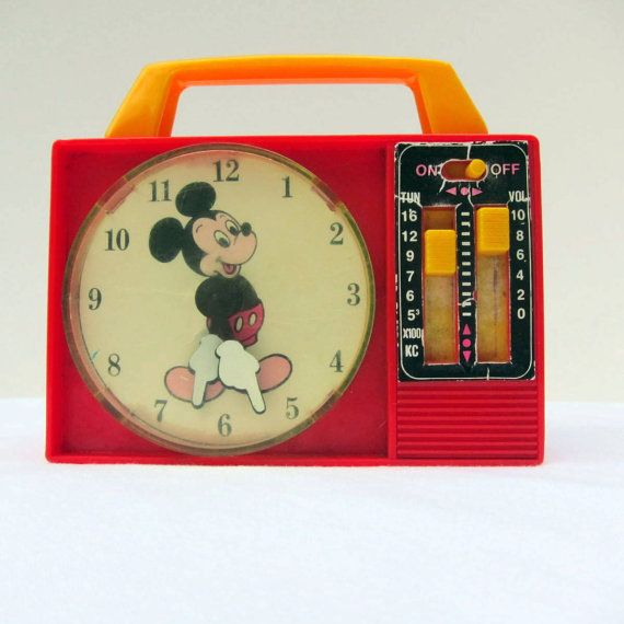 Vintage Toy Mickey Mouse Clock Radio 1960s Red Yellow Clock Mickey Mouse Clock Vintage Toys Mickey And Friends