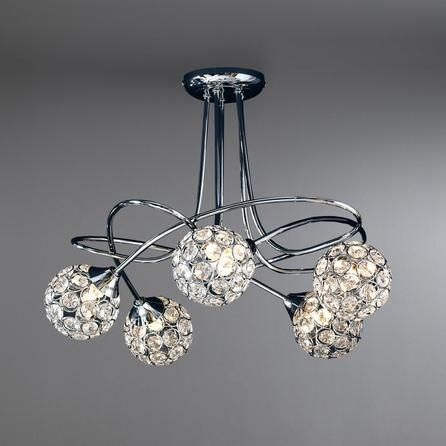 Dunelm Sphere Contemporary Patterned Chrome Silver 5 Light Ceiling