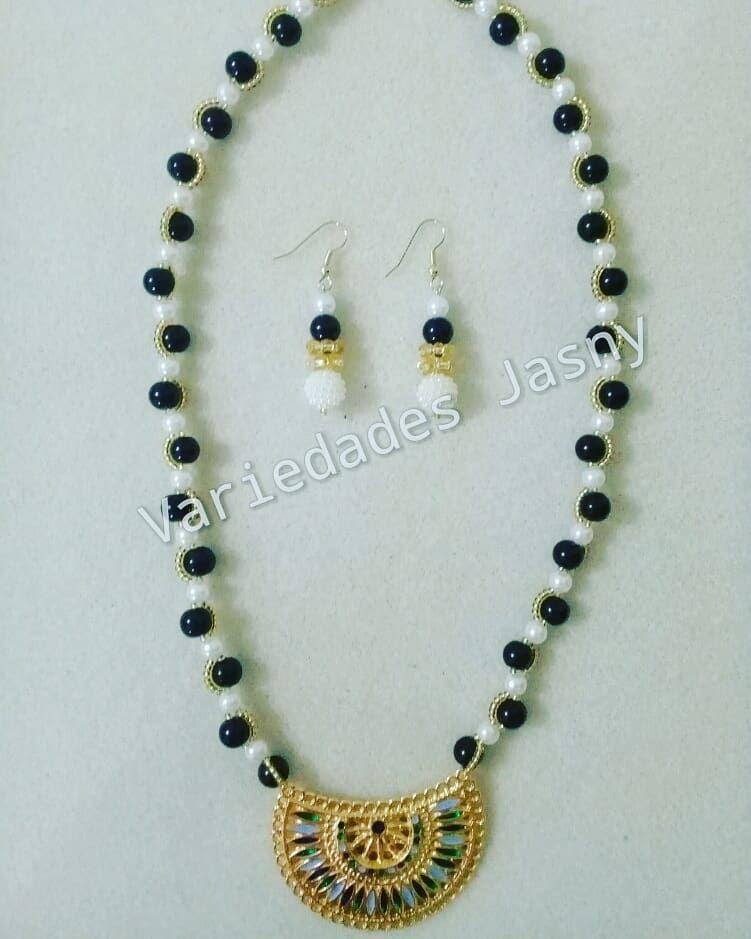 5926fb65dda0 collar  perla  negro  blanco  mostacilla  dorado  moda  belleza ...