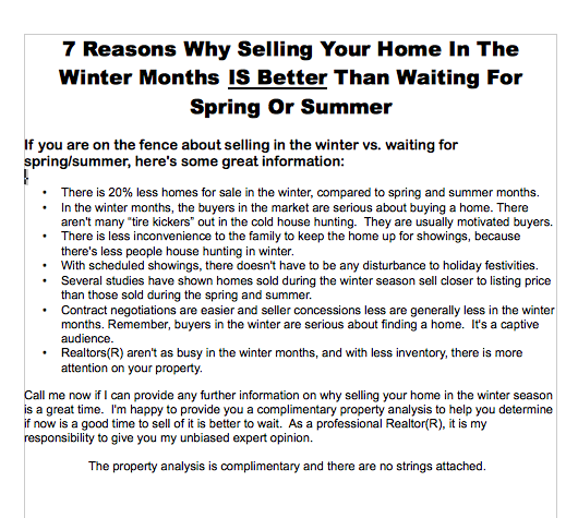 true free download 7 reasons why selling your home in the winter is better real estate marketing flyer