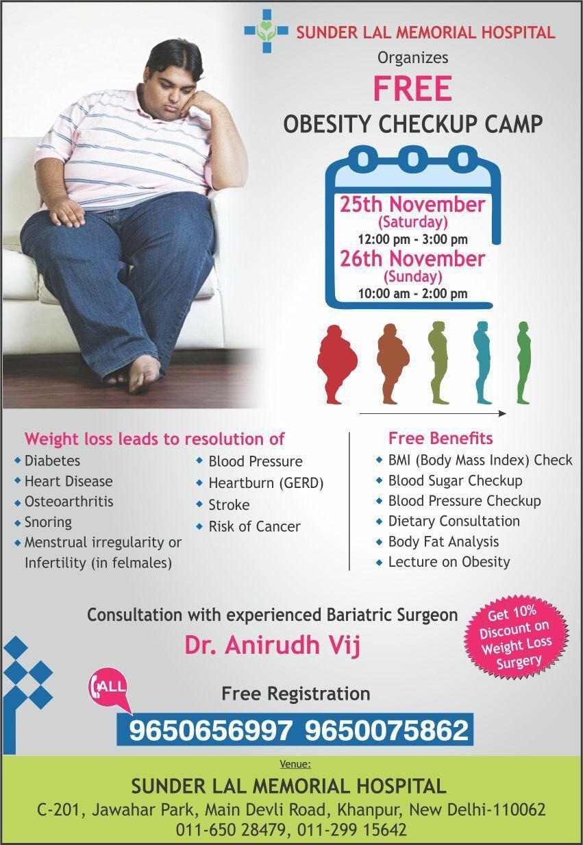 Free Obesity Checkup Camp 25 26th November 2017 Consultation