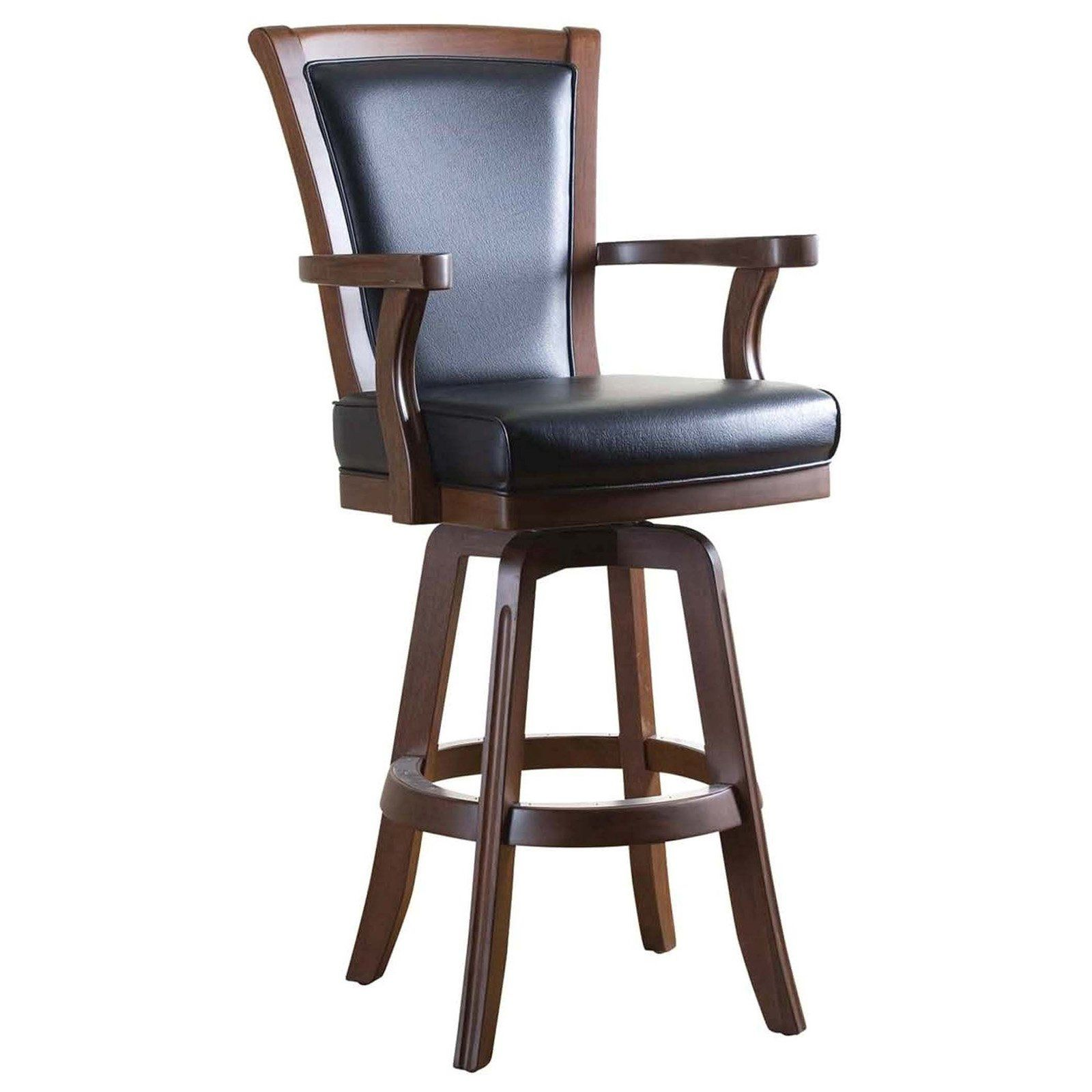 Ahb Auburn 30 In Swivel Bar Stool With Arms The Handsome Combination Of Wood And Leather Comes Togethe Wooden Swivel Bar Stools Bar Stools Swivel Bar Stools