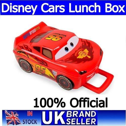 Children Disney Cars Lightning McQueen Plastic School Lunch Box Bag Carry Handle
