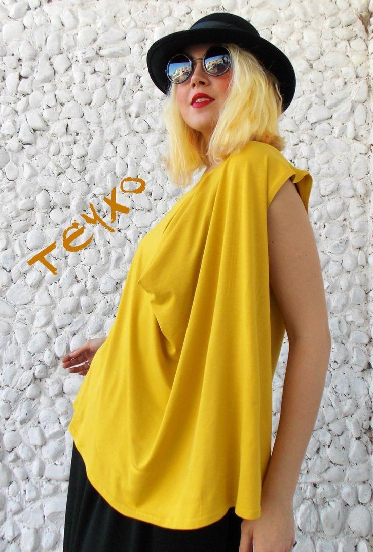 Plus size mustard yellow top oversize women blouse tt all