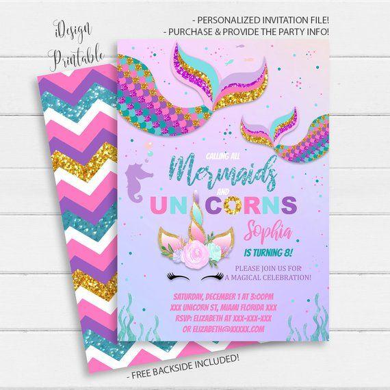graphic about Unicorn Invitations Printable identify Mermaid unicorn invitation mermaid and unicorn birthday
